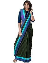 Unnati Silks Cotton Saree With Blouse Piece(Unm31202_Mehandi Green_Free Size)