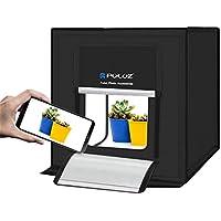 PULUZ Photography Photography Box Portable Photo Studio Shooting Tienda de campaña Plegable Sobremesa Mini Kit de Iluminación LED con Luces LED Integradas y Fondos de 3 Colores (Negro, Naranja, Blanco) Tamaño: 60cm x 60cm x 60cm, enchufe UK y enchufe EU