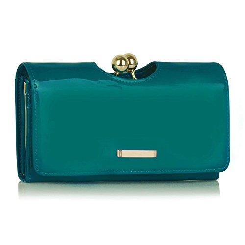- 416j7RZfE7L - Xardi London Teal New Trifold Ladies Wallet Patent Designer Women Girl Purse Bobble Clasp Bags UK
