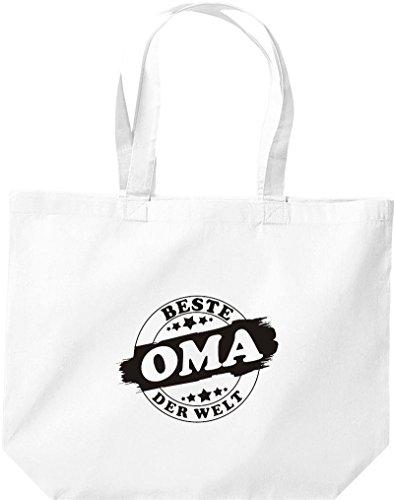 ShirtInStyle grosse Einkaufstasche Beste OMA der Welt Weiss