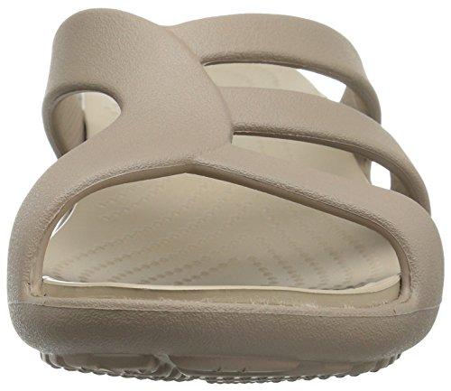 Crocs Sanrah Strappy Wedge, Sandales Bout Ouvert Femme Beige (Mushroom/Cobblestone)