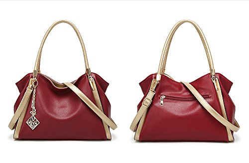 VANCOO Borse da donna Designer Borse a tracolla in PU Leather 3 Compartments Tote New Style Celebrity Large Red