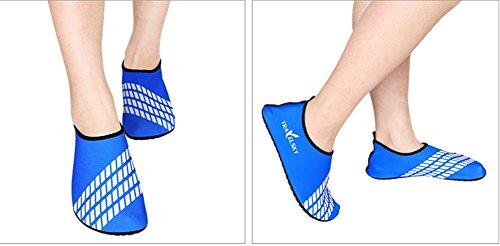 Moolecole Extérieur Fitness Yoga Chaussures de Course Unisexe Barefoot Eau Sports Aqua Chaussures pour Beach Natation Surf Peau Aquatiques Chaussures Bleu