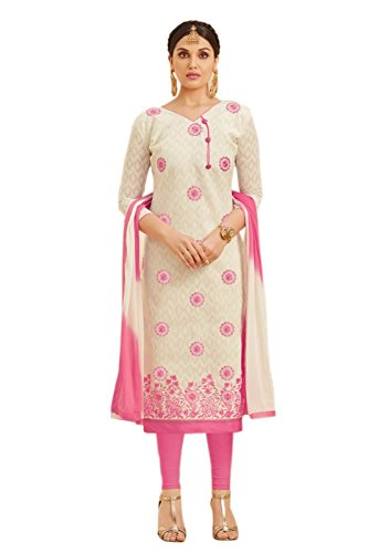 EthnicJunction Women's Dress Material (8001_OffWhite_Free Size)
