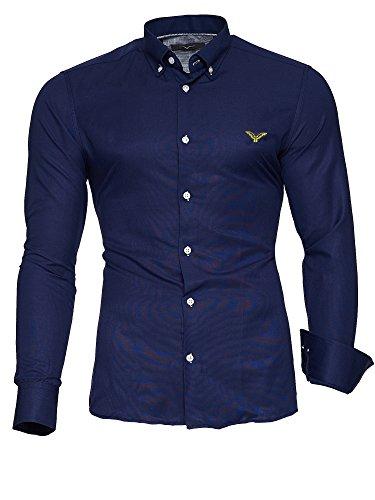Kayhan Herren Hemd Oxford Dunkelblau S (Blau Oxford-hemd Gestreiftes)