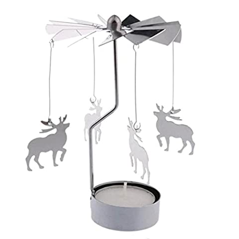 Jaminy Metall drehender Kerzenständer Spinnen Kerze Windlichthalter Halter Karussell Innendekoration Geschenk (C)