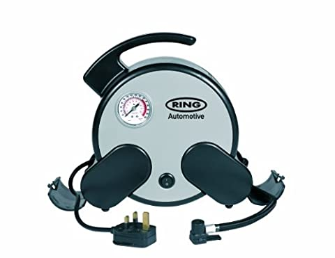 Ring RAC750 230V Mains Powered Rapid Tyre Inflator Inc Storage Bag and Adaptor Set