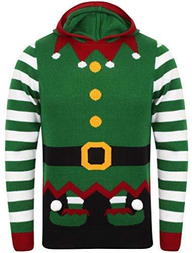 Seasons Greetings da Uomo di Natale/Natale Jumper Elf Hoody - Christmas Green Taglia-XL- 112 cm Petto