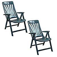 Resol Blanes Folding and Reclining Garden Chairs Set of 2, Green Plastic