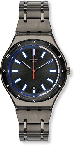 Swatch Unisex-Erwachsene Analog Quarz Uhr mit Edelstahl Armband YWM400G