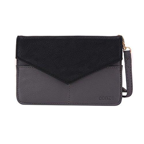 Conze da donna portafoglio tutto borsa con spallacci per Smart Phone per Blu Studio One/Plus Grigio Grey Grey