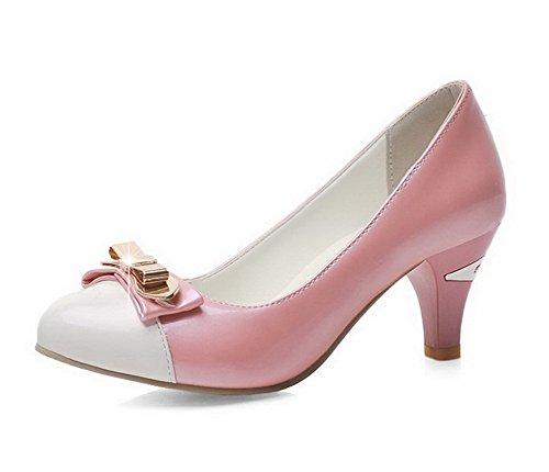 AgooLar Damen Ziehen Auf Mittler Absatz Pu Leder Eingelegt Rund Zehe Pumps Schuhe Pink