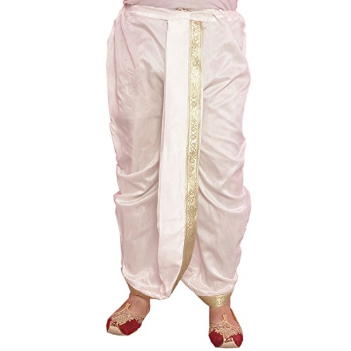 Larwa White Dupion Lace Embroidered Dhoti for Men