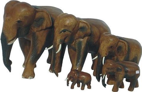 Elefant laufend, Holz-Elefant, Höhe:7 cm