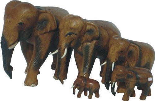 Kunsthandwerk Asien 1 Elefant laufend, Holz-Elefant (7 cm)
