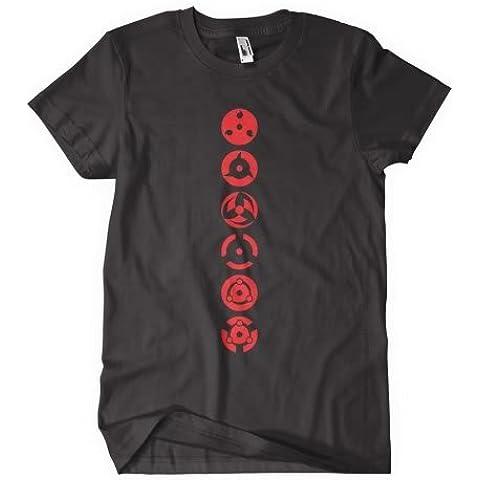 Naruto Shippuden T-camiseta de manga corta de inspirado en el manga y es símbolo de la Sharingan diseño de el viaje de