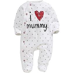 Bebé para ChenStarUK para hacer vestidos de diseño de corazones y de un padre y de la momia palo de golf para niños chica de espaldas en ropa del Pelele se hemiplejía Pelele para bebé I Love Mummy Talla:70 (0-3Months) has foot covers