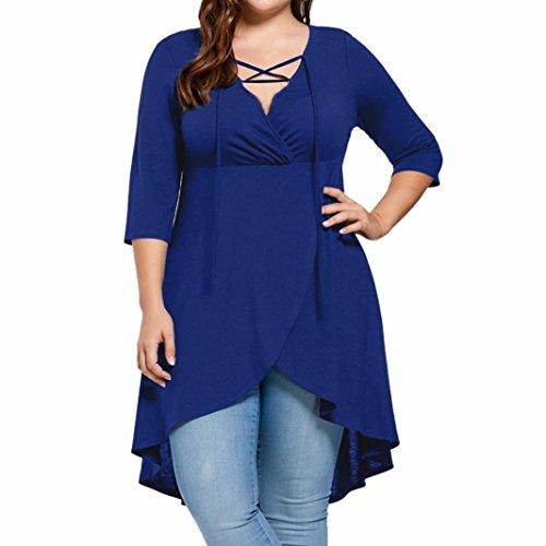 Super GroßE GrößE Shirt, Huihong XL-5XL Damen Drei Viertel ÄRmel Shirt Hohen Niedrigen Saum Tops V-Ausschnitt Elegante Bluse (Blau, 3XL)
