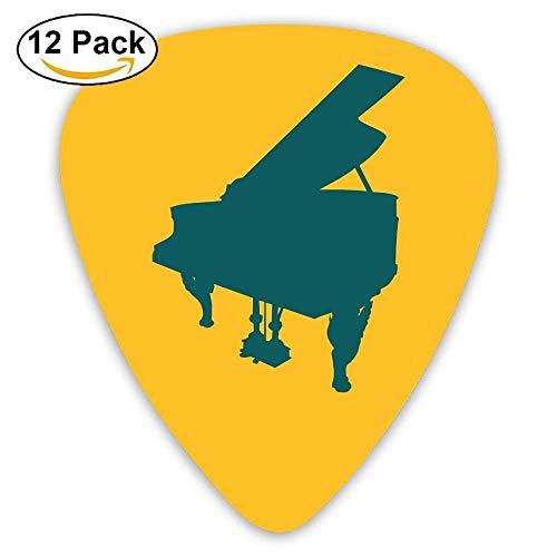 Celluloid Guitar Picks Bass Guitar Plectrums,Print Piano Silhouette,12 Pack