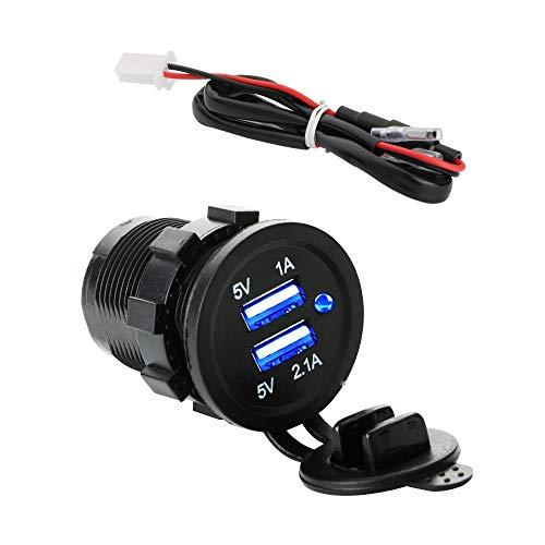 KINYOOO USB Cargador para Coche Barco Motocicleta con Indicador LED Azul, Impermeable...
