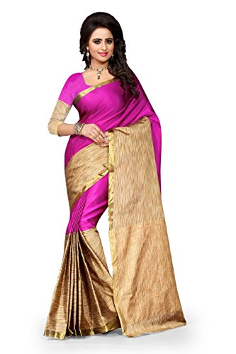 Vatsla Enterprise Women\'s Cotton Saree (VTSENAURA001PINK_PINK)