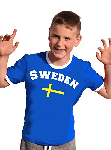 Schweden T-Shirt Kinder Ringer blau, 164 (Schweden-fußball-t-shirt)