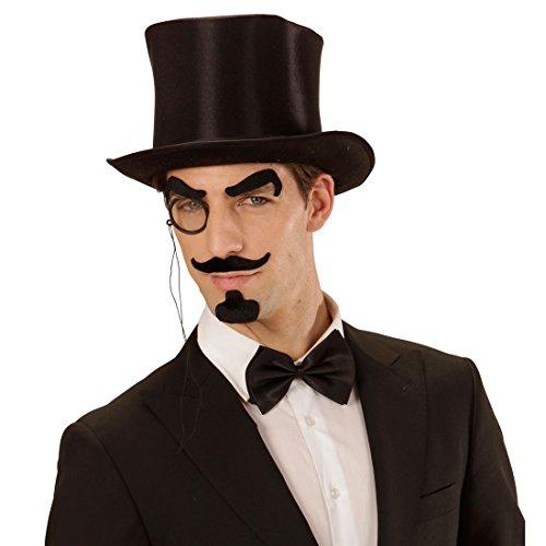 NET TOYS Englischer Gentleman Verkleidung-Set mit Augenbrauen, Schnurrbart, Kinnbart und Monokel Detektiv Bart schwarz Lord Edelmann Faschingsbart