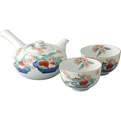 Arita Yaki Peach Flower with Teacups 14.5cm Japanese Teapot White Porcelain Made in Japan