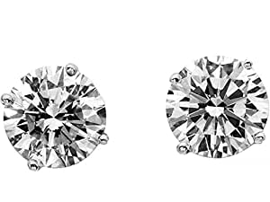 Be You 24k White Gold Plated Small Solitaire Stud Earrings for Women