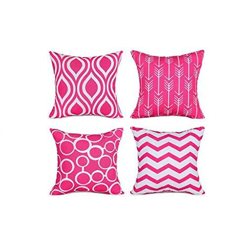 FeiliandaJJ 4er Set Dekorativ Kissenbezug 45x45cm,Geometrisch Drucken Kopfkissenbezug Kissenhülle,Sofakissenbezüge Pillowcase 18x18 für Couch Wohnzimmer Sofa Bed Auto (Pink) (Dekorative Kissen Pink)