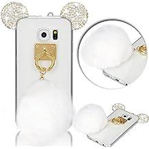 Vandot Samsung Galaxy S6 Funda Silicona, Lindo Dibujos Animados 3D Diseño Orejas de Conejo/Rabbit oídos con Brillantes Diamante Suave de TPU Silicone Funda Protectora con Anillo Soporte para Samsung Galaxy S6 G9200 SM-G920F, Transparente