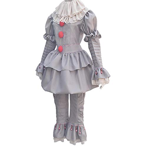 Damen Scary Kostüm Clown - wnddm Clowns Kostüm Scary Halloween Kostüm für Damen Joker Stephen King Kostüm Clown's Suit Fancy Party Prop Outfit@Grau_XXL