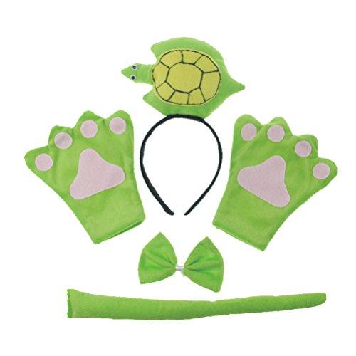 BESTOYARD Erwachsene Kostüme Schildkröte Kopf Stirnband Tierische Fußabdrücke Handschuhe Tier Schwanz Fliege für Halloween 4 Stück (Grün) (Für Erwachsene Schildkröten Kostüm)