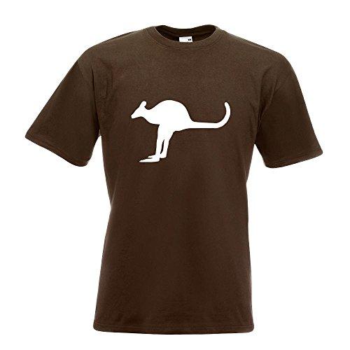 KIWISTAR - Känguru Kangaroo Beuteltier T-Shirt in 15 verschiedenen Farben - Herren Funshirt bedruckt Design Sprüche Spruch Motive Oberteil Baumwolle Print Größe S M L XL XXL Chocolate