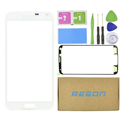 Galaxy S5Glas Ersatz, crazyfire Vorne Bildschirm Objektiv Glas Ersatz-Kit für Samsung Galaxy S5Weiß SV G900G900A G900P G900R4G900T G900V + Werkzeug-Set + Selbstklebend Aufkleber (Lcd Für Galaxy S5 Samsung Weiße)