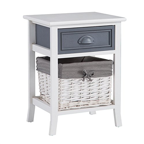 CARO-Möbel Nachttisch Nachtschrank Nachtkommode Florenz in weiß, Shabby Chic Vintage Look, mit Schublade und Korb