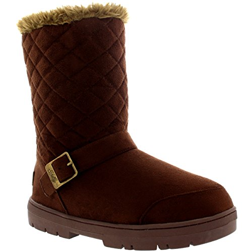 Damen Schuhe Single Schnalle Quilted Fell Schnee Regen Stiefel Winter Fur Boots Dunkelbraun