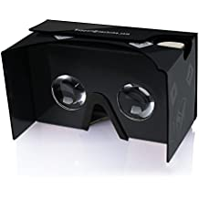 Google Cardboard,TechRise Cartón Caja Gafas 3D VR de Video Realidad Virtual con Ajustable Lente y Correa para iPhone 7/iPhone 7Plus/ iPhone 6/ 6S/ 6S PLUS/ 5/ 5S/ 5SE/ 4s/ 4, Samsung Galaxy y todos 4-6 inch Smartphones - negro