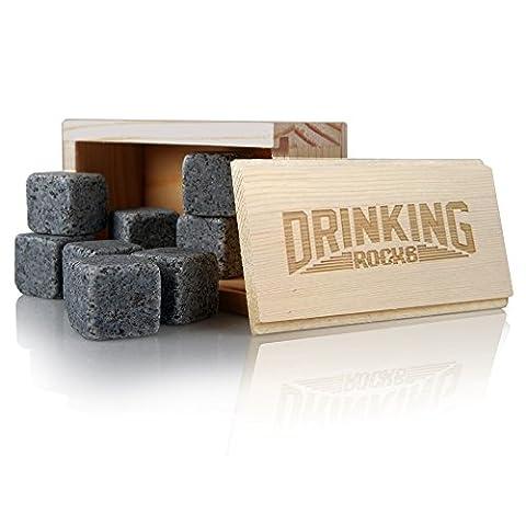 Pierres à Whisky Coffret cadeau. Best effectuer Boisson Granite Rocks. Idéal Chilling qualité. Garder Votre Boisson au frais plus longtemps sans Dilution. Un cadeau idéal pour toute occasion.