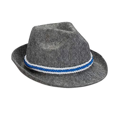 Relaxdays Trachtenhut Bayern, blau-weiße Kordel, Filzhut mit Krempe, Bayernhut, Polyester, Einheitsgröße, dunkelgrau