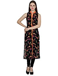 Black Sleeveless Collar Neck Regular Fit Animal Printed Abstract Straight Kurti For Women,Ethnicwear