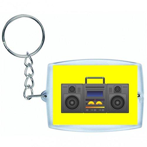 "Schlüsselanhänger \""BOOMBOX- GHETTO BLASTER- AUDIO PLAYER- CD SPIELER- MUSIK PLAYER- RADIO- BLÄSER- STEREO- GHETTO- MUSIK- BOX- RETRO\"" in Gelb | Keyring - Taschenanhänger - Rucksackanhänger - Schlüsselring"