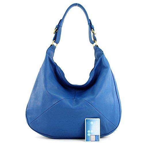 modamoda de® - ital. Handtasche Tasche Damentasche Beuteltasche Ledertasche Echt Leder T71 Blau