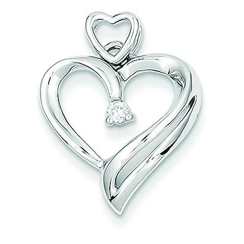 14Karat Weißgold Diamanten Herz Anhänger