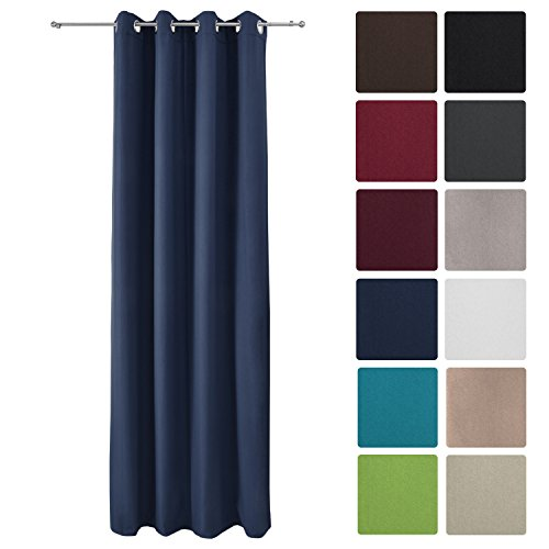 Beautissu Thermovorhang Amelie 140x245 cm Ösen-Schal Vorhang blickdicht & Verdunkelung - isolierende Gardine in Blau