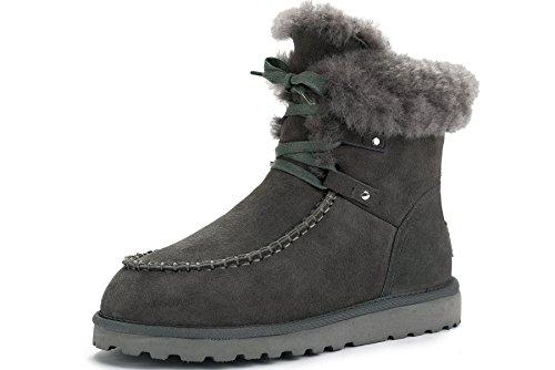 OZZEG Neige Shearling bottes lacets féminine plus récent conçu chaude doublure bottes en peau de mouton Noir