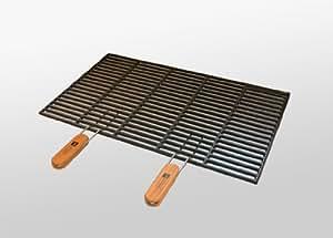 gusseisen grillrost 54 x 34 cm mit abnehmbaren handgriffen garten. Black Bedroom Furniture Sets. Home Design Ideas