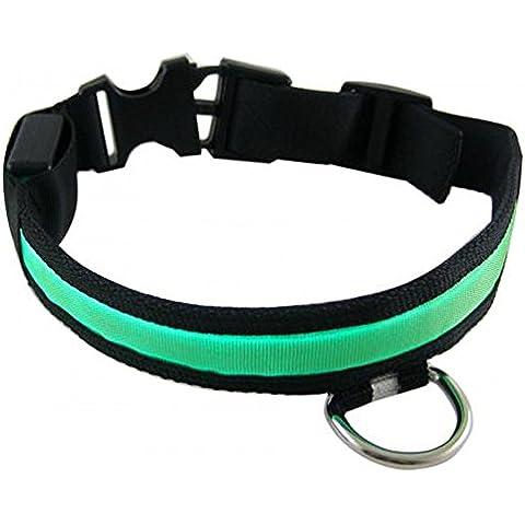 Seguridad de nylon LED mascota perro noche Collar correa luz parpadeante resplandor en la oscuridad talla L