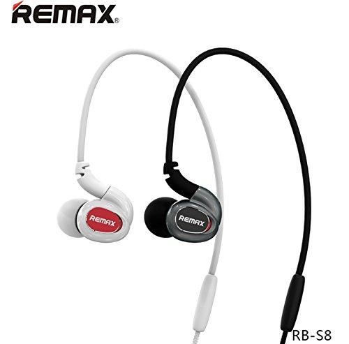 Ollivan Remax S8 movimento di sport senza fili Bluetooth in Ear isolamento del rumore HIFI stereo basso cuffia auricolare auricolare auricolari con il MIC per il telefono iPod MP3 MP4 (Nero)