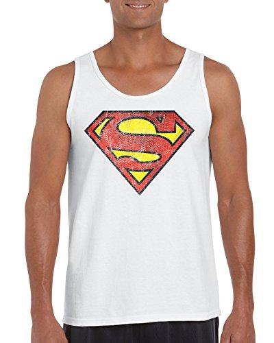 TRVPPY Herren Tank-Top Shirt Modell Vintage Superman, Weiß, M